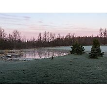 Frosty Morning - Quiet Pinks and Greens at the Pond Photographic Print