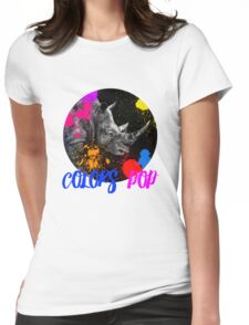 SAFARI COLORS POP - RHINO Black Edition Womens Fitted T-Shirt