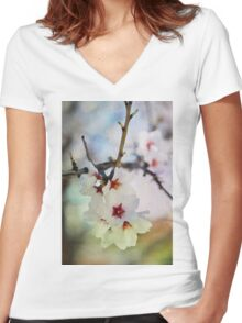 Almond tree flowers in watercolor Women's Fitted V-Neck T-Shirt