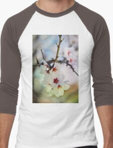Almond tree flowers in watercolor Men's Baseball ¾ T-Shirt