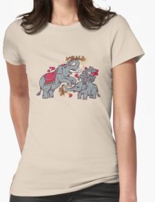 Thai elephants family Womens Fitted T-Shirt