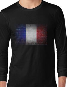 France flag painted on old brick wall texture background Long Sleeve T-Shirt