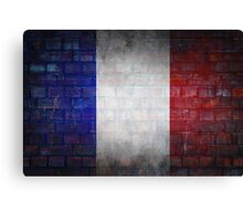France flag painted on old brick wall texture background Canvas Print