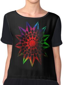 Trippy Star - Colorful Geometric Abstract Vector Star Chiffon Top