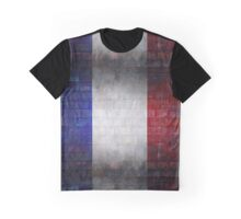 France flag painted on old brick wall texture background Graphic T-Shirt