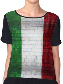 Italy flag painted on old brick wall texture background Chiffon Top