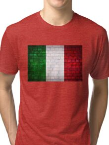Italy flag painted on old brick wall texture background Tri-blend T-Shirt