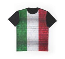 Italy flag painted on old brick wall texture background Graphic T-Shirt