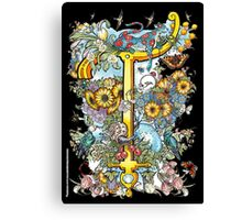 """The Illustrated Alphabet Capital  T  """"Getting personal"""" from THE ILLUSTRATED MAN Canvas Print"""
