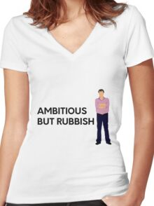 """""""Ambitious but rubbish"""" original design Women's Fitted V-Neck T-Shirt"""