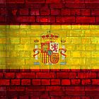 Spain flag painted on a brick wall in an urban location by E ROS