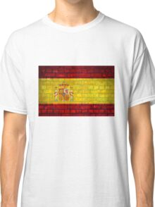 Spain flag painted on a brick wall in an urban location Classic T-Shirt