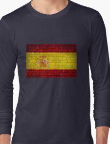 Spain flag painted on a brick wall in an urban location Long Sleeve T-Shirt