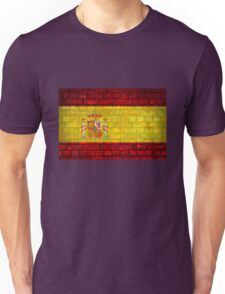 Spain flag painted on a brick wall in an urban location Unisex T-Shirt