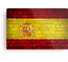 Spain flag painted on a brick wall in an urban location Metal Print