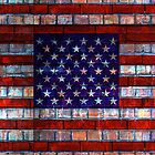 USA flag on old brick wall texture background by E ROS