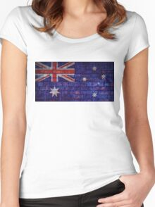 Australia flag on vintage brick wall Women's Fitted Scoop T-Shirt