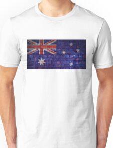 Australia flag on vintage brick wall Unisex T-Shirt