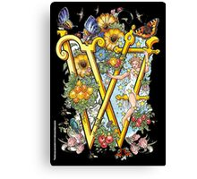 """The Illustrated Alphabet Capital  W  """"Getting personal"""" from THE ILLUSTRATED MAN Canvas Print"""