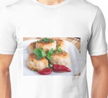 Closeup view on fried meatballs of minced chicken Unisex T-Shirt
