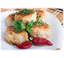 Closeup view on fried meatballs of minced chicken Poster