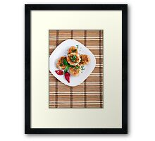Meatballs of minced chicken with red pepper and green basil Framed Print