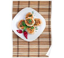 Meatballs of minced chicken with red pepper and green basil Poster