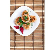 Meatballs of minced chicken with red pepper and green basil Photographic Print