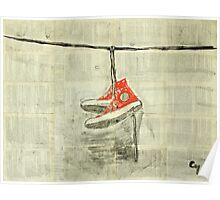 Wire and sneakers.  Poster