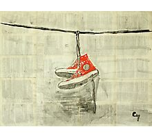 Wire and sneakers.  Photographic Print