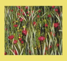 Red Poppies In A Cornfield Kids Tee