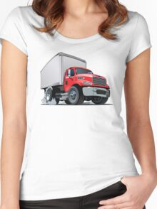 Cartoon delivery cargo truck Women's Fitted Scoop T-Shirt