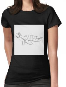 Black and white plesiosaur Womens Fitted T-Shirt