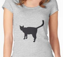 Black silhouette of cat Women's Fitted Scoop T-Shirt