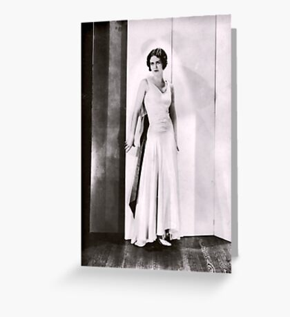 1920s Flapper Glamour Girl in a White Satin Gown Greeting Card