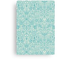 Detailed Floral Pattern in Teal and Cream Canvas Print