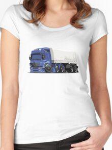 Cartoon cargo semi-truck Women's Fitted Scoop T-Shirt