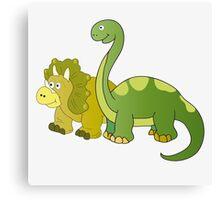 Brachiosaurus and Triceratops Canvas Print