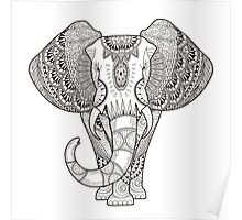 Black And White Elephant Poster