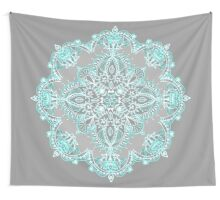 Teal and Aqua Lace Mandala on Grey Wall Tapestry