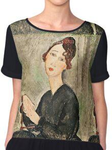 Amedeo Modigliani - Portrait Of Dedie Hayden  Chiffon Top
