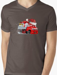 Cartoon Christmas Truck Mens V-Neck T-Shirt