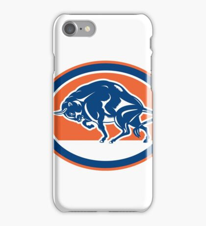 European Bison Charging Oval Retro iPhone Case/Skin