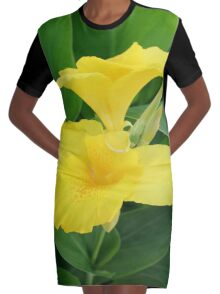 Closeup Of A Tropical Yellow Canna Lily Graphic T-Shirt Dress