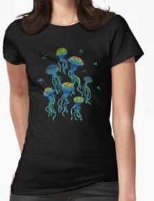 Swirly Jellyfish Womens Fitted T-Shirt