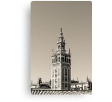 Seville - The Giralda in black and white Canvas Print