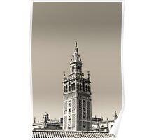 Seville - The Giralda in black and white Poster