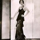 1920s Flapper Glamor Girl in a Black Lace Dress by LouiseK