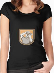 Photographer Camera Shield Retro Women's Fitted Scoop T-Shirt