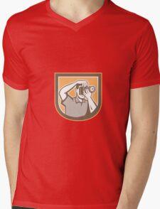 Photographer Camera Shield Retro Mens V-Neck T-Shirt
